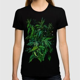 Summer Greenery, Green & Black, Floral Painting T-shirt