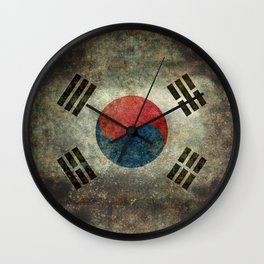 National flag of South Korea, officially the Republic of Korea, Vintage version to scale Wall Clock