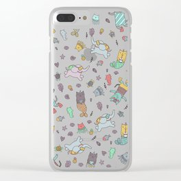 Cat mermaids under the sea. Funny elephant and unicorn kitty. Clear iPhone Case