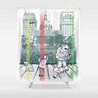 kurt rahn Shower Curtains featuring God Bless You, Kurt Vonnegut! by Robbie Lee