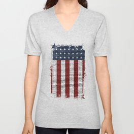 USA American Flag Rustic Jute Style 4th July Decor Unisex V-Neck