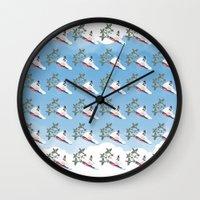 air jordan Wall Clocks featuring Air Jordan 5 - The Fighter by dortizdesigns
