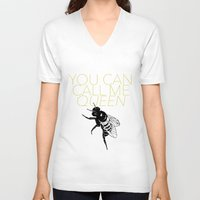 lorde V-neck T-shirts featuring Queen Bee by kirstenariel