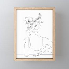 Minimal Line Art Woman with Flowers II Framed Mini Art Print