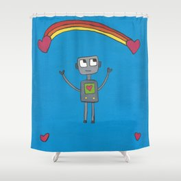 Robot in Love Shower Curtain