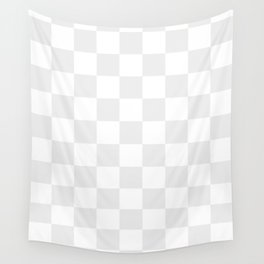 Checkered - White and Pale Gray Wall Tapestry