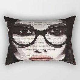 Eternal feminine - Ink portrait over vintage book's page Rectangular Pillow