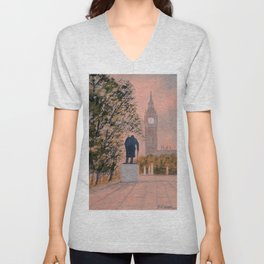 Churchill And Big Ben Unisex V-Neck