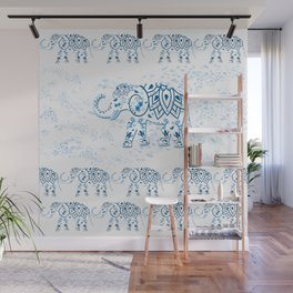Blue Decorated Indian Elephant Wall Mural