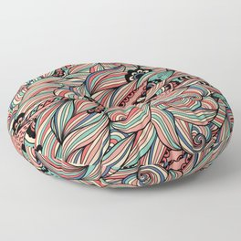 Colorful Abstract Floral Drawing.  Floor Pillow