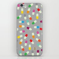 the cure iPhone & iPod Skins featuring Pill cure by  R U A L E G R E