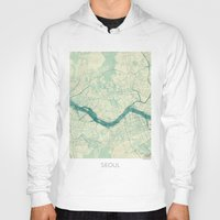 seoul Hoodies featuring Seoul Map Blue Vintage by City Art Posters