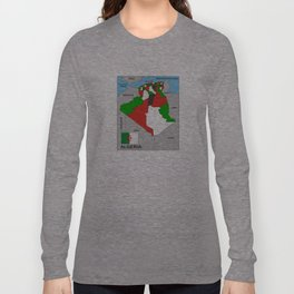 political map of Algeria country with flag Long Sleeve T-shirt