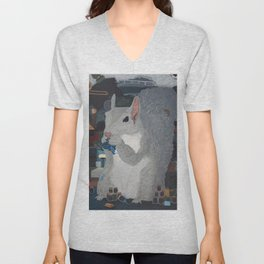 Grey Hoarding Squirrel (in a Blue Room) Unisex V-Neck