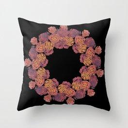 Rosey Rose Wreath, Pink Throw Pillow