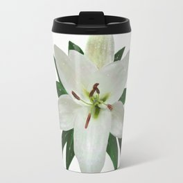 White Lily in the Rain Travel Mug