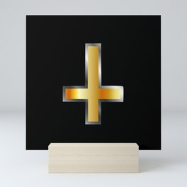 An inverted cross- The Cross of Saint Peter used as an anti-Christian and Satanist symbol. Mini Art Print