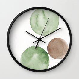 4 |181104 Australian Leaf Green & Brown Earth Orbs | Watercolour Circle Abstract Geometrical Wall Clock