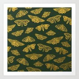 Golden Moths in Green Art Print