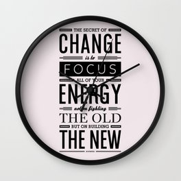 Lab No. 4 The Secret Of Change Socrates Life Motivational Quote Wall Clock