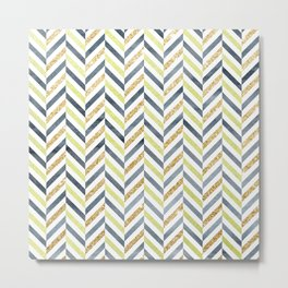 Watercolor & Glitter Chevron Metal Print