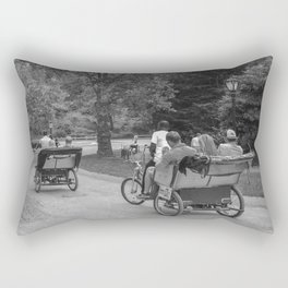 Strolling in Central Park B&W photo Rectangular Pillow