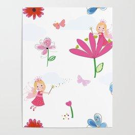 Summer Flowers, Butterflies and Fairy Pattern Wallpaper Poster