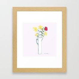 Lilies in tall pitcher Framed Art Print