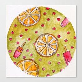 Lemons and Ice-cream - summer Canvas Print