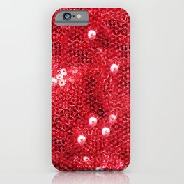 Faux Red Sequin Background iPhone Case