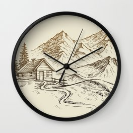 Vector of Mountain Landscape Wall Clock