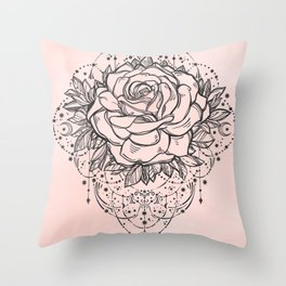 Night Rose Throw Pillow