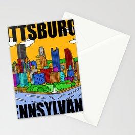Pittsburgh Pennsylvania Steel City Skyline Pop Art Print Stationery Cards