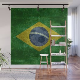 Flag of Brazil with football (soccer ball) retro style Wall Mural