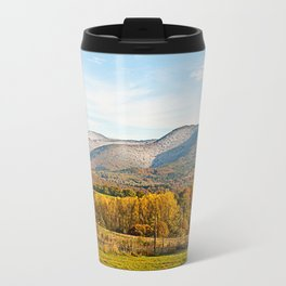 Autumnally valley and snowy mountains Travel Mug