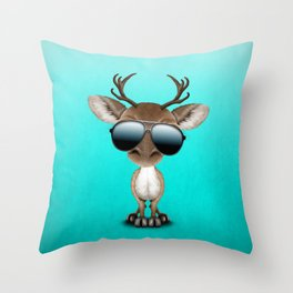 Cute Baby Reindeer Wearing Sunglasses Throw Pillow