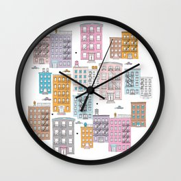 New York Brownstone Architecture - Pastel homes Wall Clock