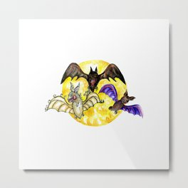 Three Bats in Watercolor Metal Print