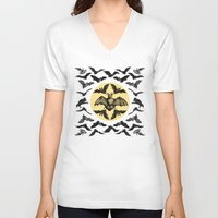 bats V-neck T-shirts featuring Bats Pattern by DIVIDUS