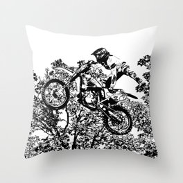 Stealing the Air - Freestyle Motocross Rider Throw Pillow
