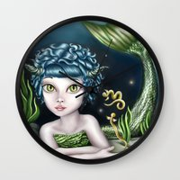 capricorn Wall Clocks featuring Capricorn by Paula Ellenberger