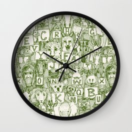 animal ABC green ivory Wall Clock