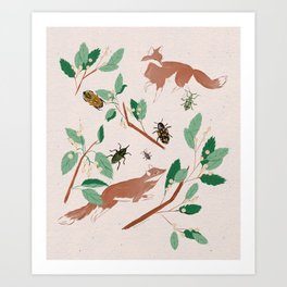 Fox and bug Art Print
