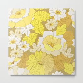 Yellow, Ivory & Brown Retro Flowers Metal Print