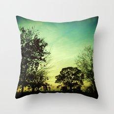 Orange Green Blue Sky Throw Pillow