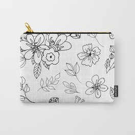White and black flowers leaves, doodle, sketch. Carry-All Pouch