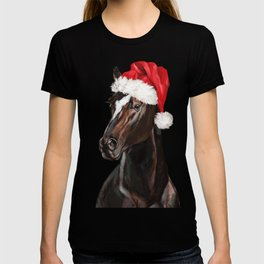 Christmas Horse in Pink T-shirt