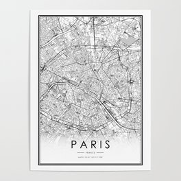Paris City Map France White and Black Poster