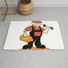 Cartoon handyman with tools Rug