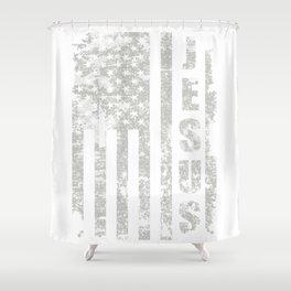 Jesus USA Flag American Religion Christian Gift Shower Curtain